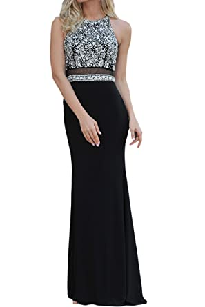 LucysProm Floor-Length Prom Dresses Bead Embellished Bodice Evening Dress Black Size 0