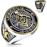 Oro y Negro Símbolo Masónico casting en acero inoxidable–disponible en tamaños de anillo 09A 13