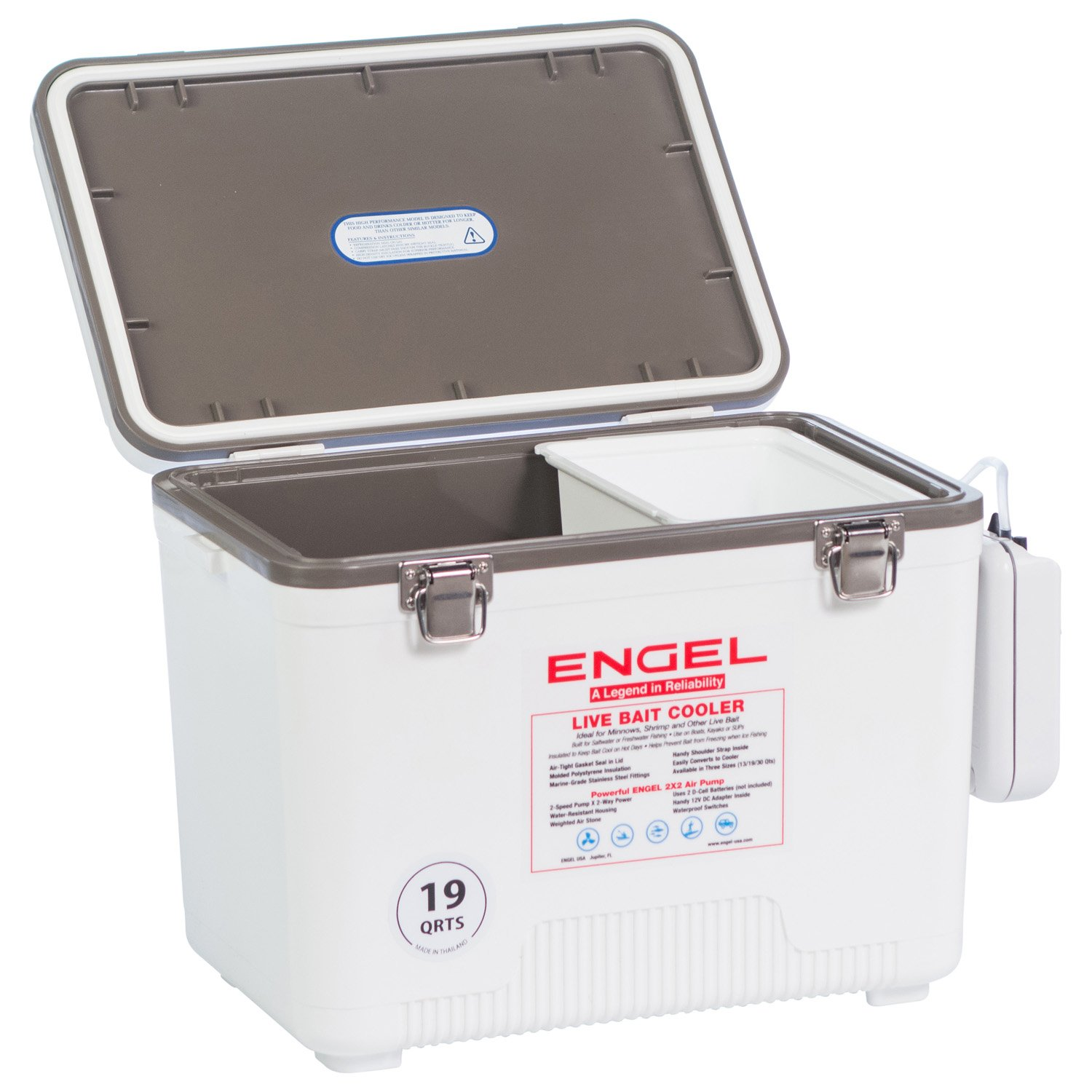 Engel Coolers Live Bait Cooler/Dry Box with Air Pump