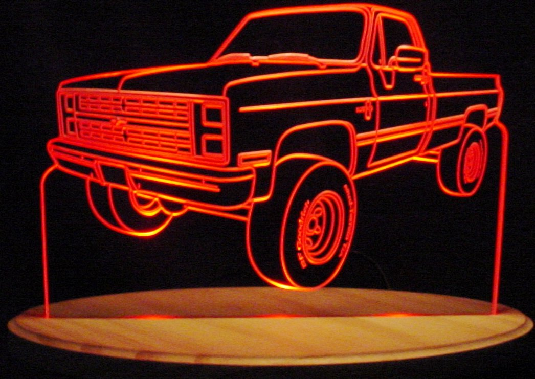 1985 Chevy Pickup Truck 3/4 Ton Acrylic Lighted Edge Lit LED 13'' Sign Light Up Plaque 85 VVD1 Full Size USA Original by ValleyDesignsND