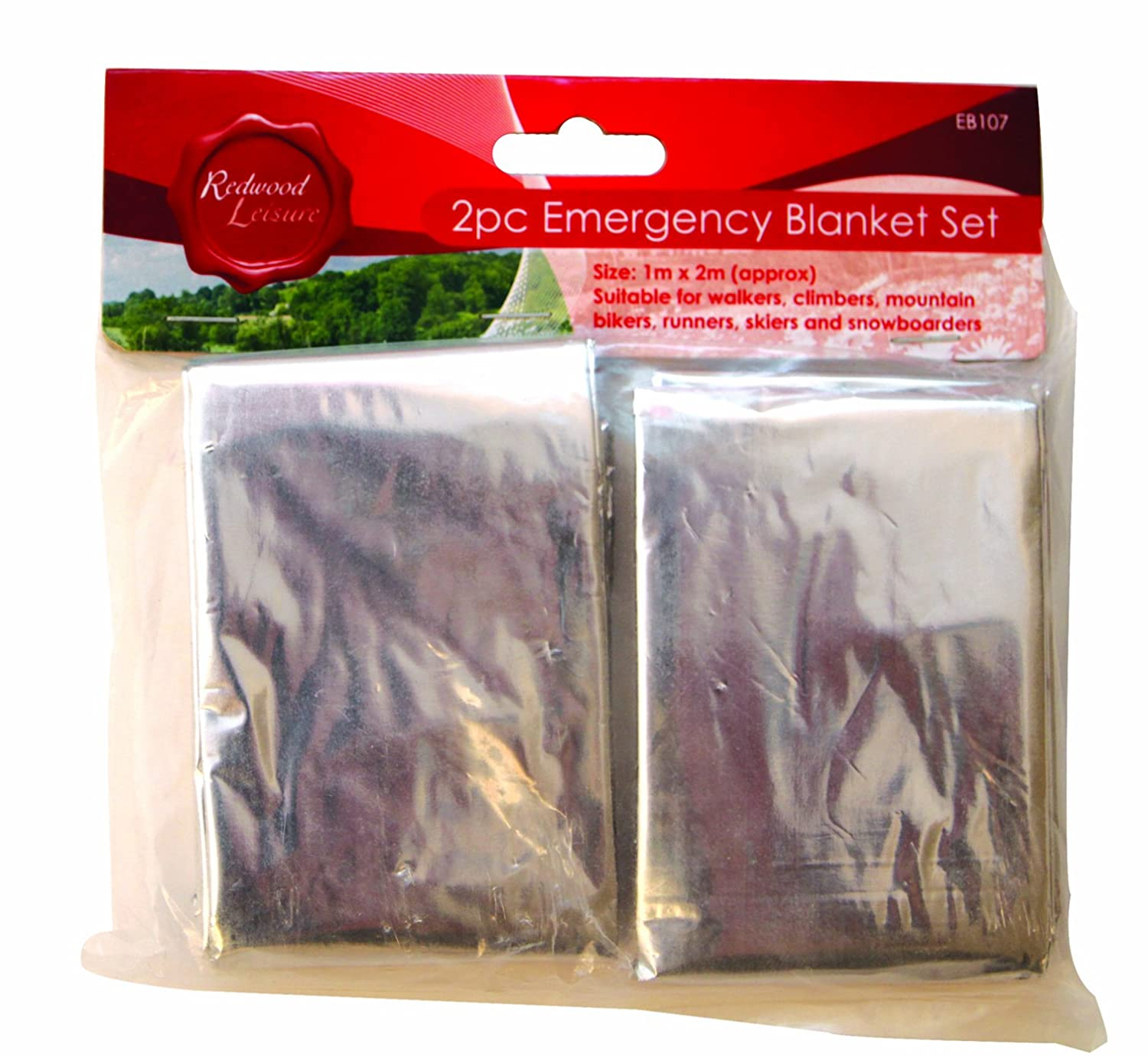 2 Pack Emergency Blanket Set, Ideal For Walkers, Climbers, Runners, Skiers Redwood Leisure