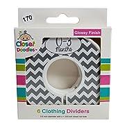 Closet Doodles Grey Chevron Gender Neutral Baby Closet Dividers Set of 6 Fits 1.25inch Rod (Ranged Months)