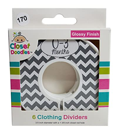Closet Doodles Grey Chevron Gender Neutral Baby Clothing Dividers Organizer  Set Of 6 Fits 1.25inch