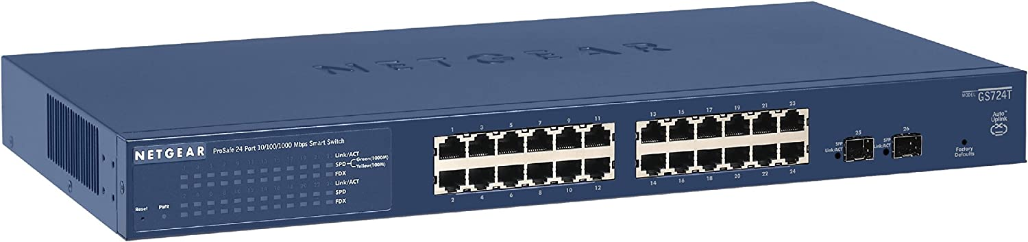 NETGEAR 24-Port Gigabit Ethernet Smart Managed Pro Switch (GS724Tv4) - with 2 x 1G SFP, Desktop/Rackmount, and ProSAFE Limited Lifetime Protection