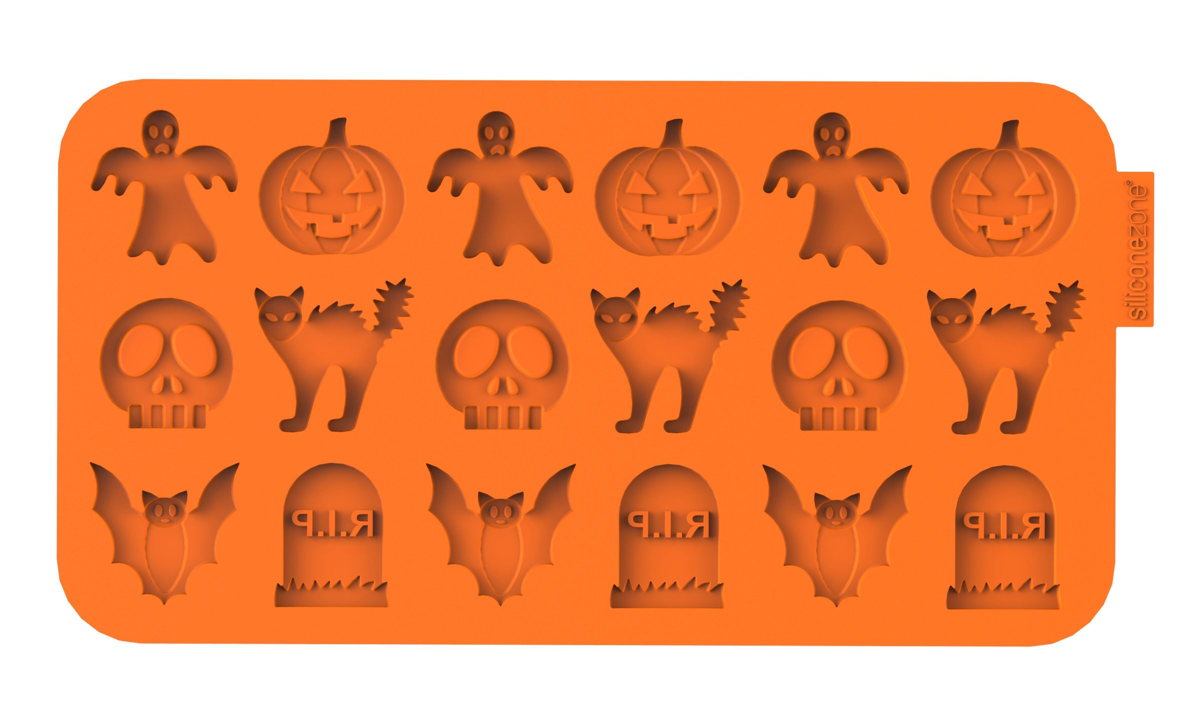 SiliconeZone Chocochips Collection 8.9'' Non-Stick Silicone Halloween Chocolate Wafer Mold, Orange