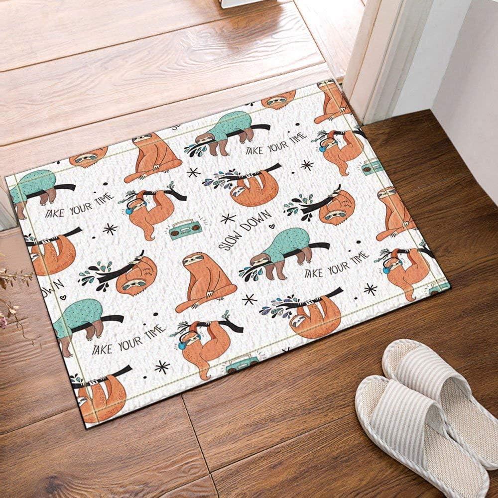 chenyuuu Animales decoración Vector Lindos Perezosos para niños Alfombras de baño, entradas Antideslizantes en el Piso Alfombrilla Exterior para Puerta de Entrada, alfombras de baño de 60x40cm