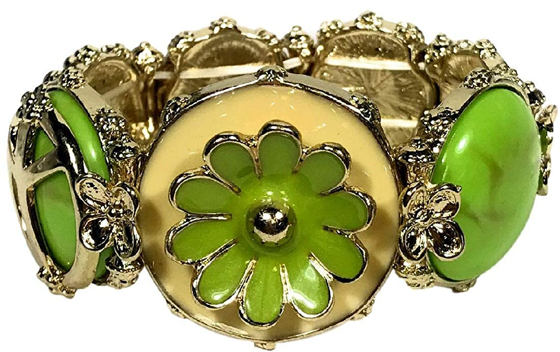 60s -70s Jewelry – Necklaces, Earrings, Rings, Bracelets Daves Collections Womens Retro Lime Green Flower Power Peace Bead Enamel Stretch Bracelet $12.00 AT vintagedancer.com