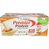 Premier Protein 30g Protein Shakes (Pack of 18) Caramel, 1g Sugar, 5g Carbs, Low Fat, 24 Vitamins & Minerals