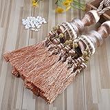 KISENG 1 Pair Beaded Tassels Curtain Tiebacks Rope Holdbacks for Bedroom (D)
