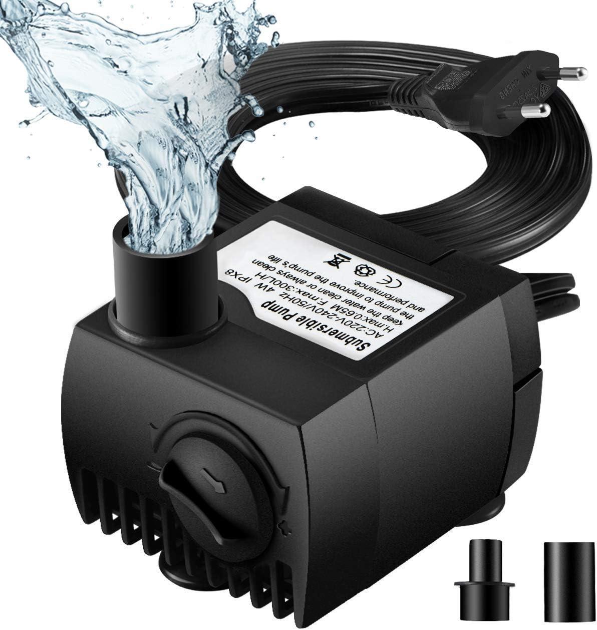 OMORC Mini Bomba de Agua, Ultra Silencioso 300L/H, 48 Horas de Combustión en Seco, Bomba Sumergible 4W, Bomba de Circulación para Pecera Acuario Jardín, Estanque, Fuente, 1.7M Cable y 2 Boquillas