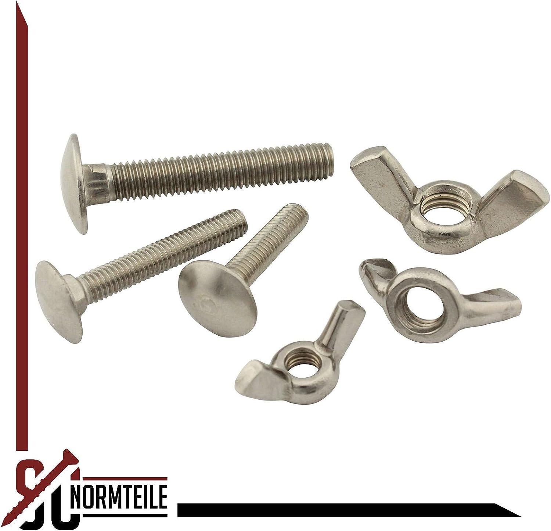 din315/Acero Inoxidable A2 /Tornillo//Candado Tornillos M6/DIN 603/alas y tuercas AF 10/pieza E-NORMpro/