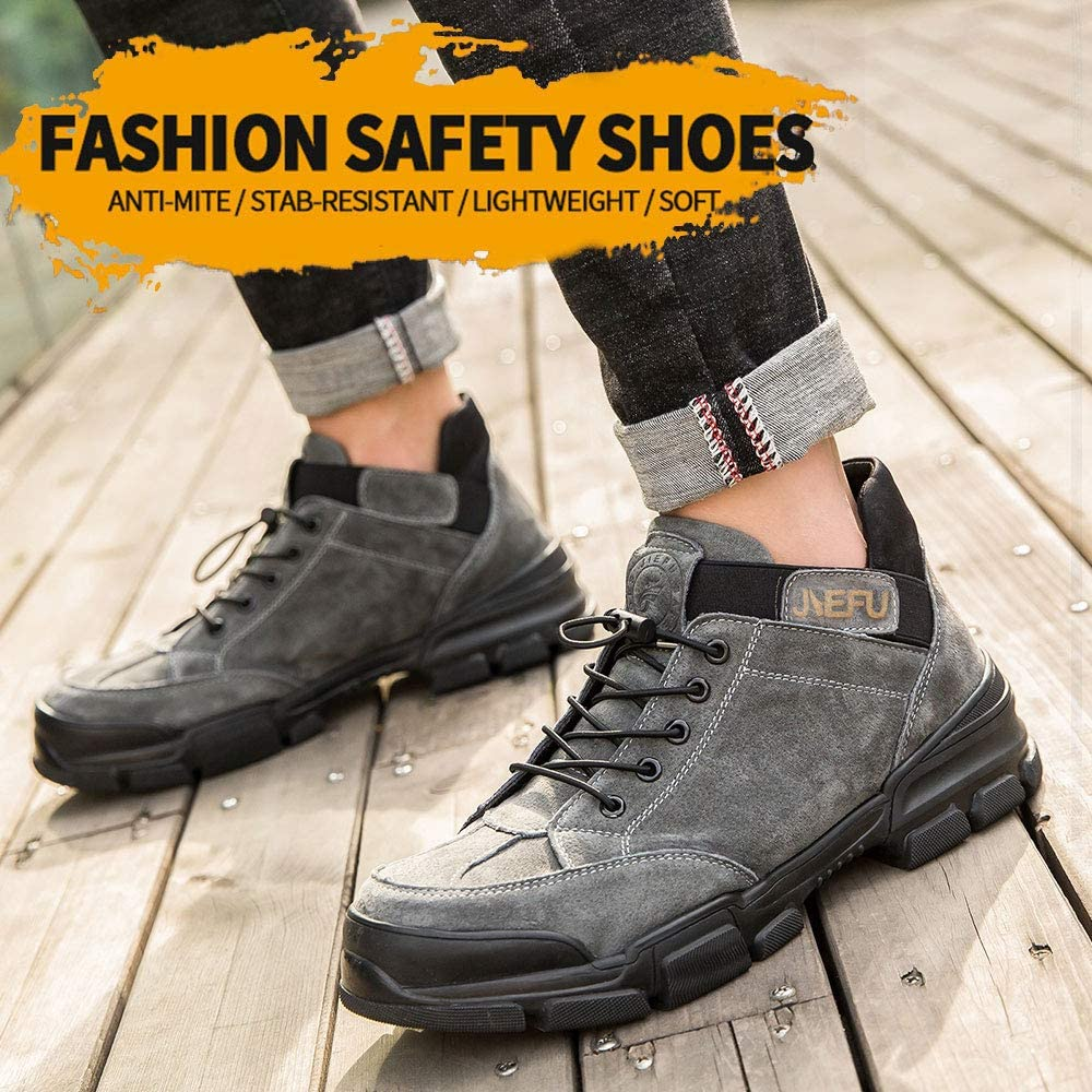 GUFANSI Arbeitsschuhe Herren Sicherheitsschuhe Damen mit Stahlkappe Leicht Sportlich Schutzschuhe Wanderhalbschuhe High-Top Trekkingschuhe Unisex Sneaker