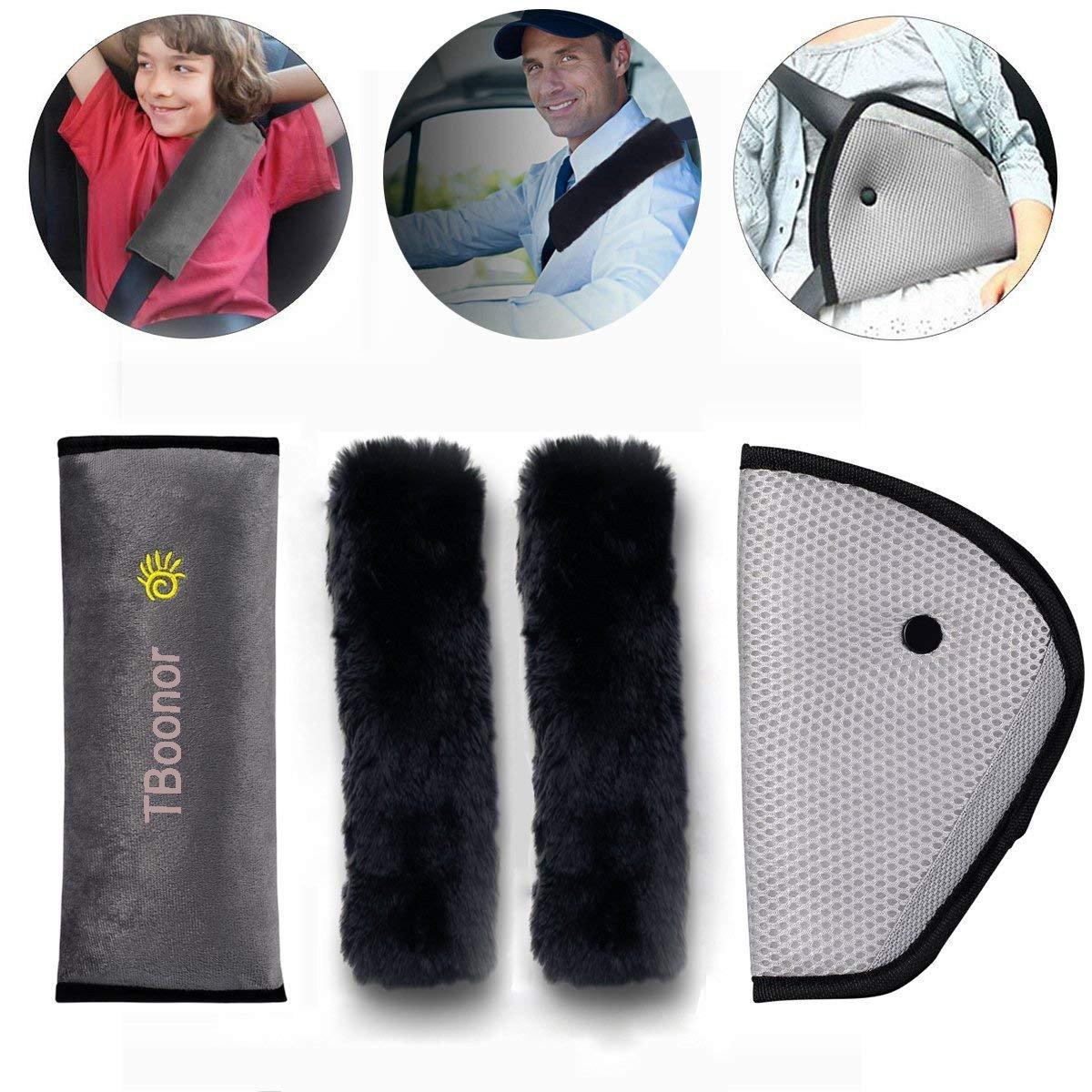 Sangle de ceinture de sécurité 3 en 1 Oreiller Amovible+Voiture Ceinture de Sécurité+ Coussinets d'Epaule de Voiture Adaptateur Ceinture Securite Enfant Coussin Support de Cou Amovible Auto Voiture Boonor