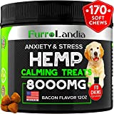 FurroLandia Hemp Calming Treats for Dogs - 170 Soft Chews - Made in USA - Hemp Oil for Dogs - Dog Anxiety Relief - Natural Calming Aid - Stress - Fireworks   Aggressive Behavior (Bacon Flavor)