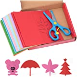 Multifit 120 Pages Cutting Fun Scissor Skill Activity Books with A Pair of Child-Safe Scissors(Red)