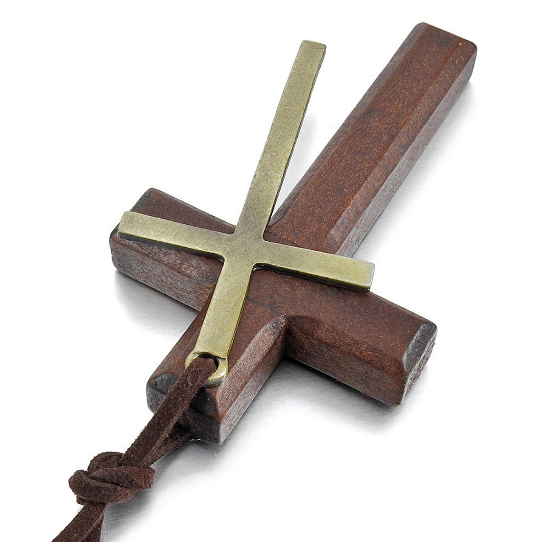 Sungpunet pendentif de Croix dor/ée marron cuir et bois Collier avec pendentif pour homme en alliage anneau du pendentif ajustable