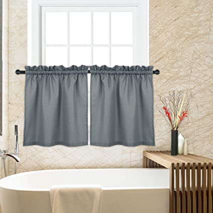 CAROMIO Waffle Woven Textured Short Tier Curtains for Kitchen Bathroom  Living Room Window Covering Cafe Curtains, 30x24, Grey, Set of 2
