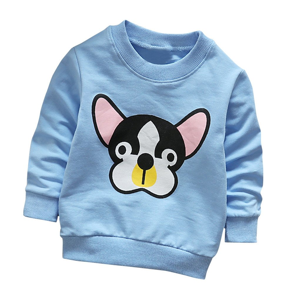 TIANRUN Toddler Girl Sweatshirt Clothes Outfit,Cotton Crewneck Cartoon Dog Long Sleeve Soft Clothing Tops