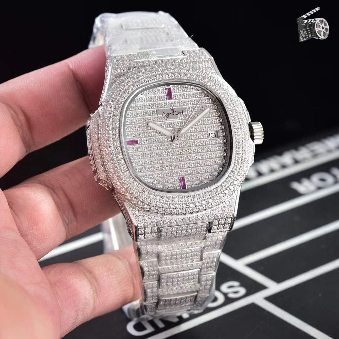 AHELUSB Reloj mecánico automático Hombres Reloj de Zafiro con Diamantes Helados Transparentes de Plata de Oro Rosa y Oro Amarillo. Reloj Deportivo.