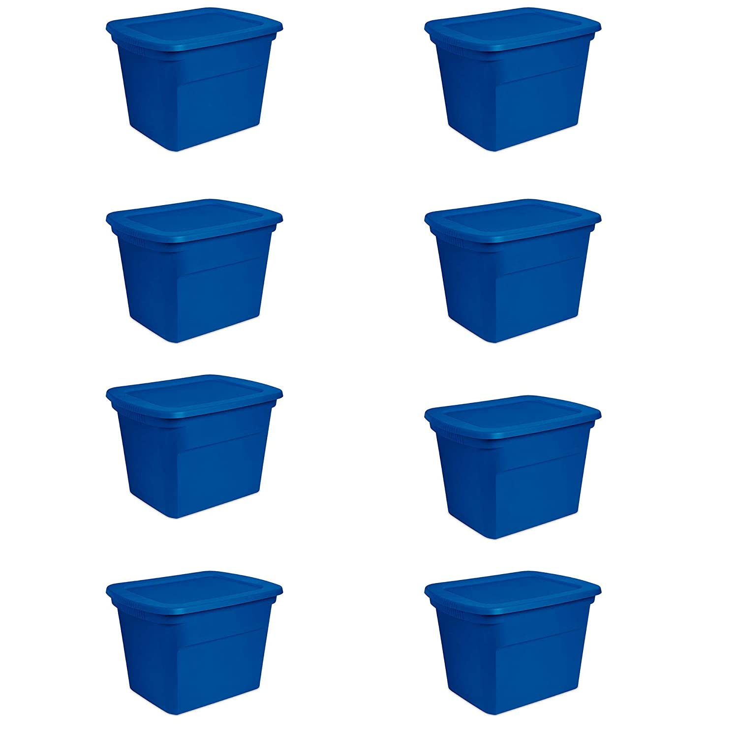 Sterilite 18 Gallon Heavy Duty Stackable Storage Tote, Blue Morpho (8 Pack)