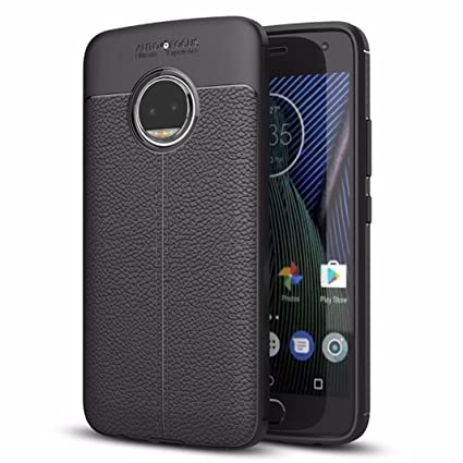 hot sales be0c9 a0eac Bounceback ® For Motorola Moto G5s Plus Shock Proof Leather Pattern Armor  Soft Back Case / Cover (Matte Black)