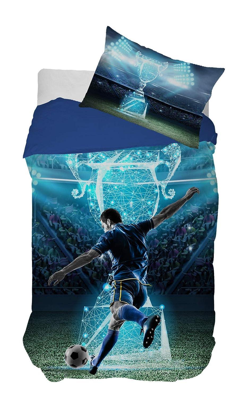 f DHestia Coj/ín 70x50 cmts Duvet Set F/útbol Champions Cama 90 cm 150x260 cm 100/% Algod/ón Juego de Funda N/órdica Infantil Reversible