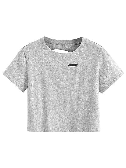 e346ce8e824 SweatyRocks Women's Summer Short Sleeve Tee Distressed Ripped Crop T-Shirt  Tops (X-