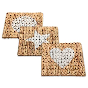 Juego de 3 salvamanteles naturales de hierba de mar – Almohadillas tejidas a mano para proteger