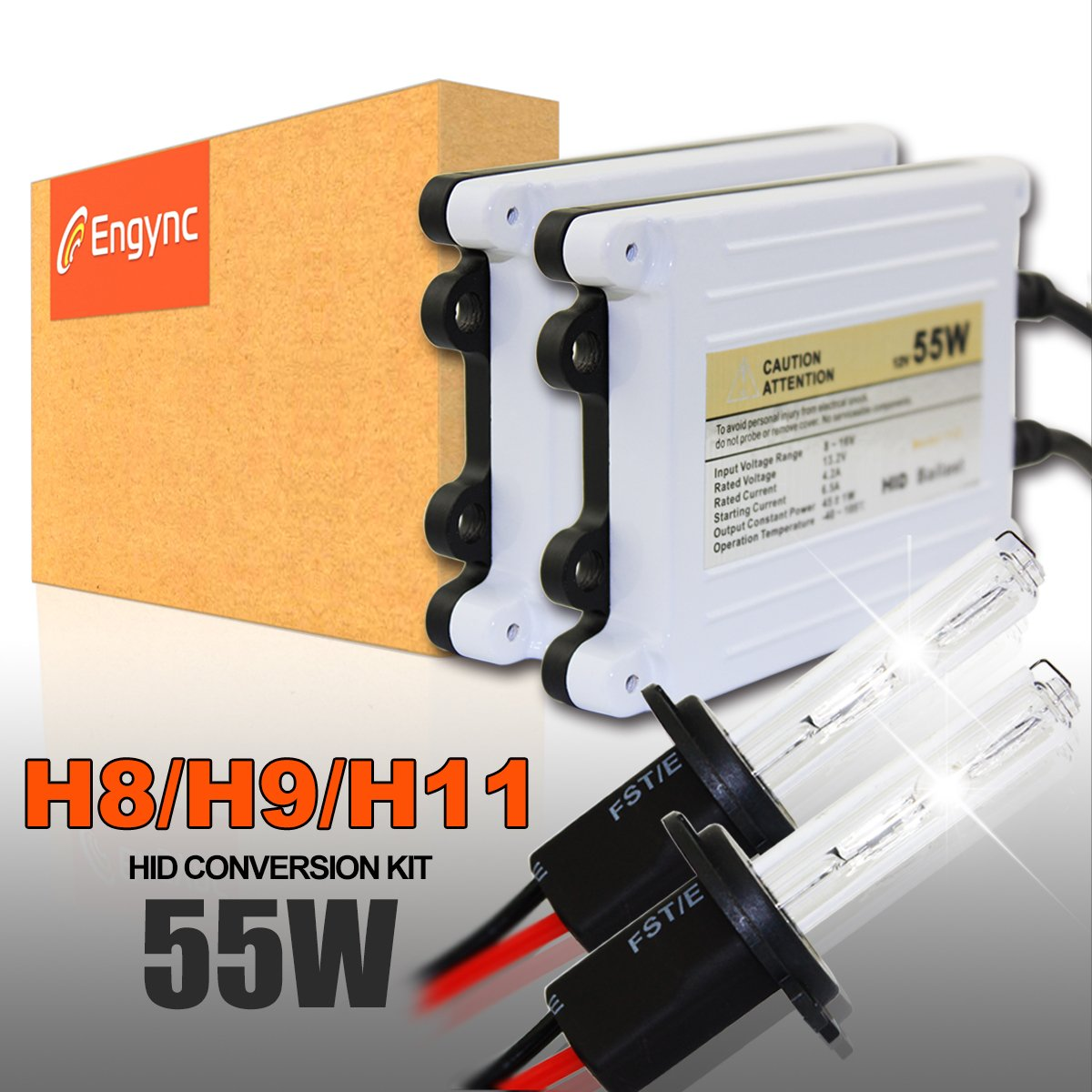 Engync 55w Ac H11 H16 Xenon Hid Conversion Kit With Premium Wiring Diagram For Ballasts And 3 Year Warranty Hi Low White Light A Blue Tinge Color 8000k Lights