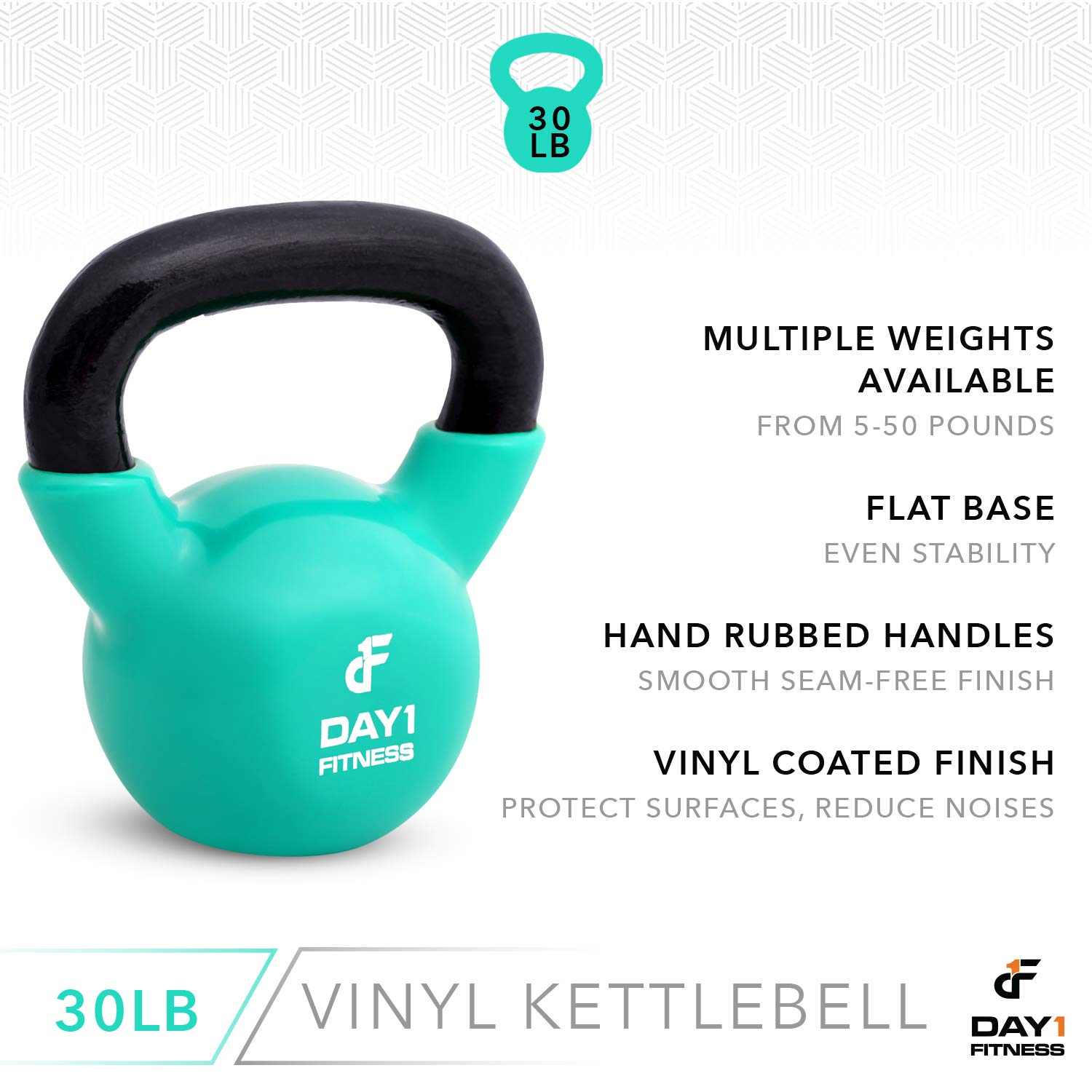 Day 1 Fitness Kettlebell Weights Vinyl Coated Iron 30 Pounds - Coated for Floor and Equipment Protection, Noise Reduction - Free Weights for Ballistic, Core, Weight Training by Day 1 Fitness (Image #4)