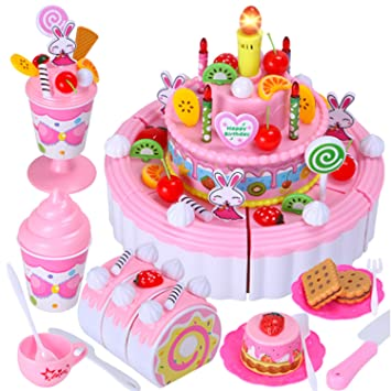 Arshiner Triple Layer Light Birthday Song Party Cake Desert Kids Pretend Play Food Toy