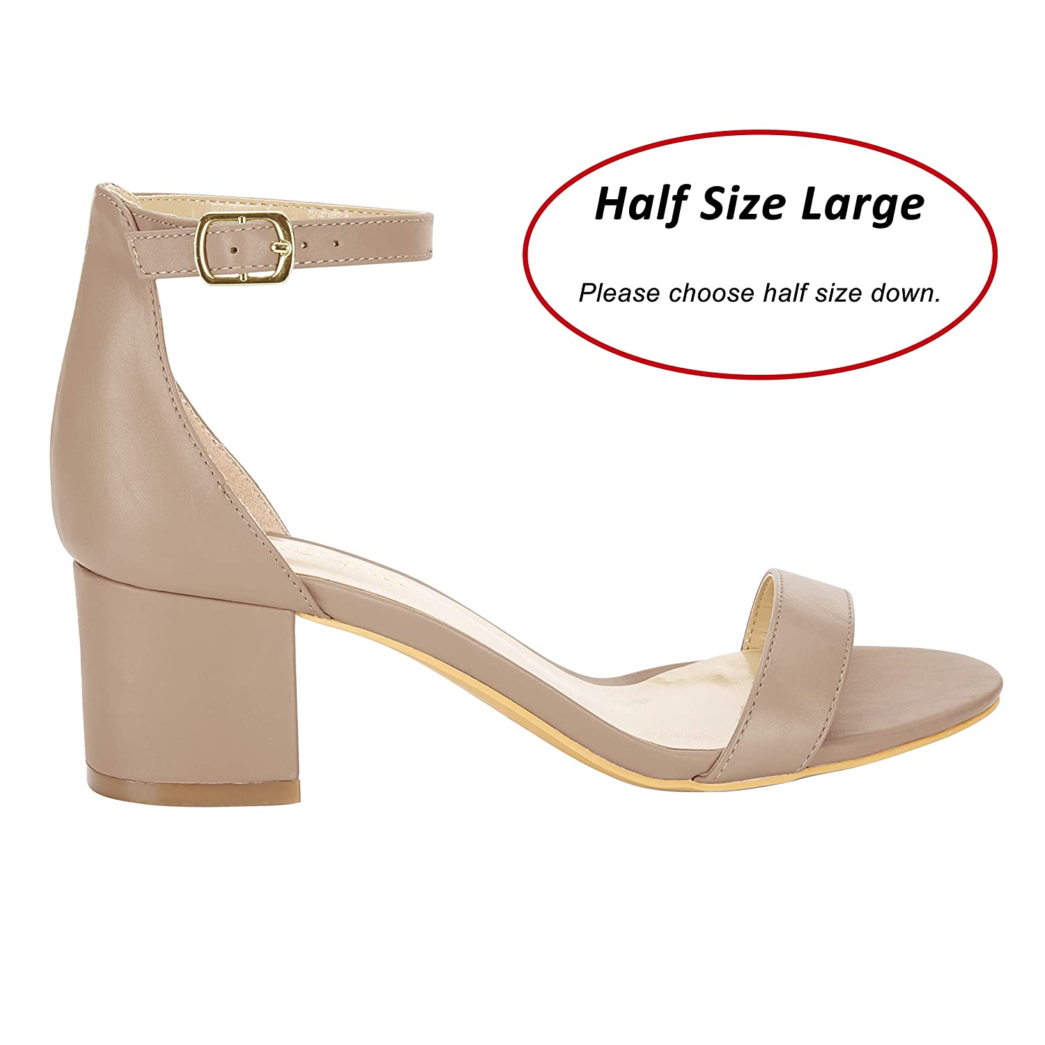 2c6bdc38bae Amazon.com  Eunicer Women s Single Band Classic Chunky Block Low Heel Pump  Sandals with Ankle Strap Dress Shoes (Half Size Large)  Shoes