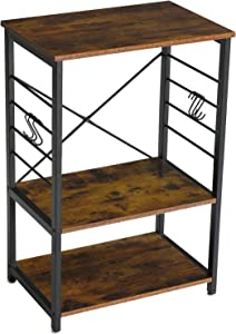 YMYNY Industrial Microwave Oven Stand, 3-Tier Baker's Rack with Metal Frame and 6 Hooks, Multifunctional Kitchen Coffee Bar Utensils Storage Shelf, Rustic Brown UTMJ022H