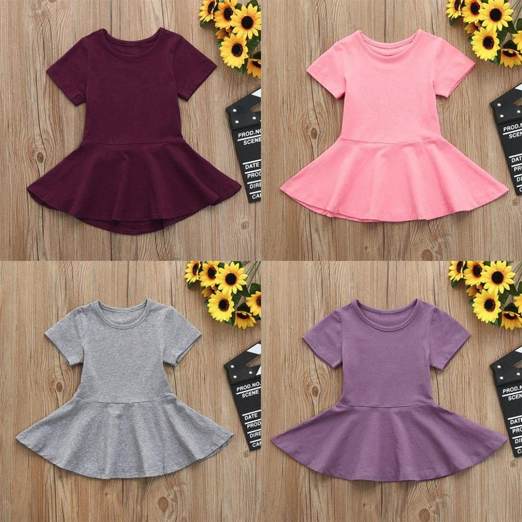 Efaster Toddler Baby Girl Candy Color Short Sleeve Solid Princess Casual Dress