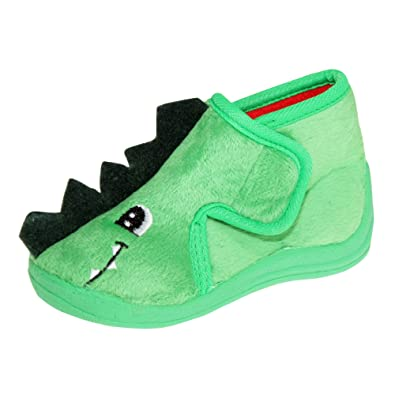 7bad5ab2833 SlumberzzZ Kids Childrens Dinosaur Slipper Boots (4 Child UK 22 EU) (Green