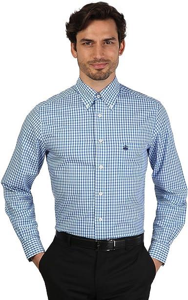 Brooks Brothers - Camisa de vestir - Ajustada - con botones - Manga Larga - para hombre Azul azul: Amazon.es: Ropa y accesorios