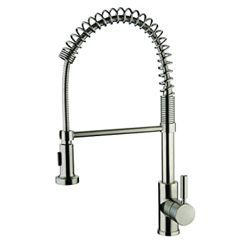 Yosemite Home Decor YP2814A BN Single Handle Spring Pull Out Kitchen Faucet,  Brush