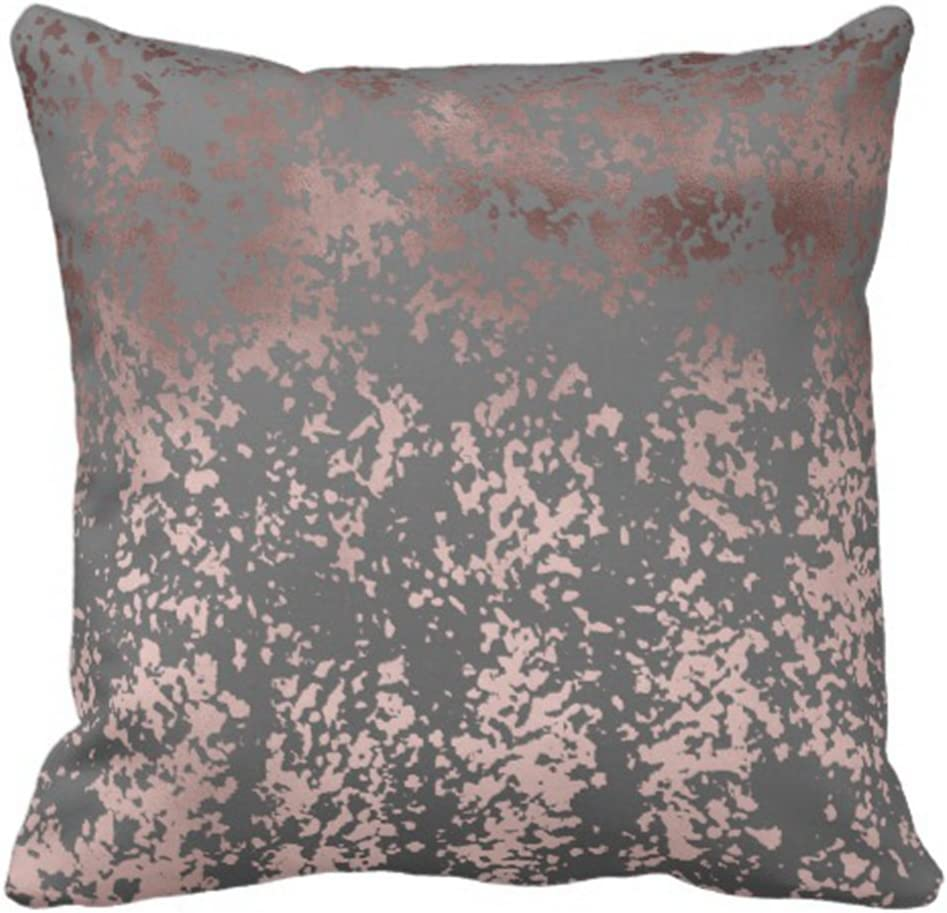 Emvency Throw Pillow Cover Elegant Faux Rose Gold and Grey Brushstrokes Decorative Pillow Case Girly Home Decor Square 18 x 18 Inch Cushion Pillowcase