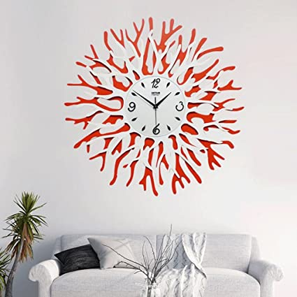 WTL wall clock Reloj de pared de flor coralina Relojes decorativos de moda fina Relojes Arte