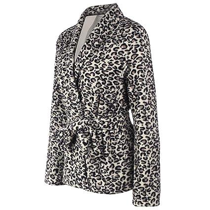 BaZhaHei-Chaqueta de Mujer, Blusa con Cuello en V para Mujer con Abrigo Sexy de Leopardo de Manga Larga de Camisas Chaqueta de Manga Larga con Cuello en v ...