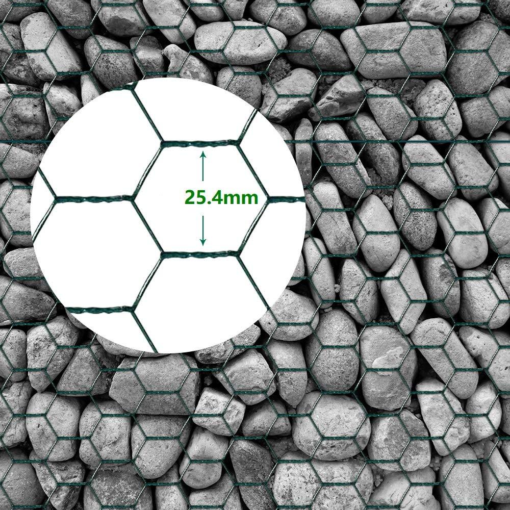 0.75M x 25M Rete Esagonale Recinzione Rete Metallica Dimensione Della Maglia 25,4 mm Zincata Rete per Giardino Rete da Recinzione per Animali Verde