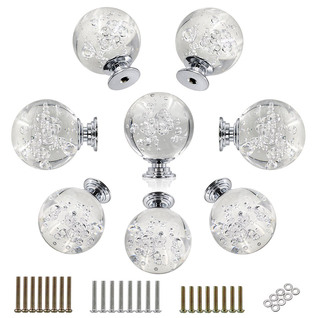 Hipiwe 8 Pcs 40mm Clear Crystal Glass Door Knobs Bubbles Ball Cabinet Knobs/ Wardrobe Doorknob/ Cupboard Drawer Pull Handle with 3 Kinds of Screws