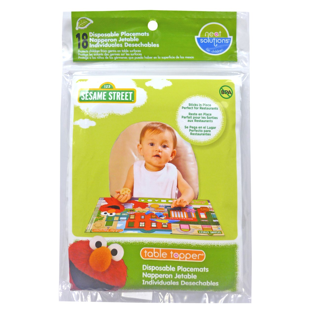 Neat Solutions Sesame Street Table Topper Disposable Stick-On Placemat, 18 Count Hamco Inc. 10009