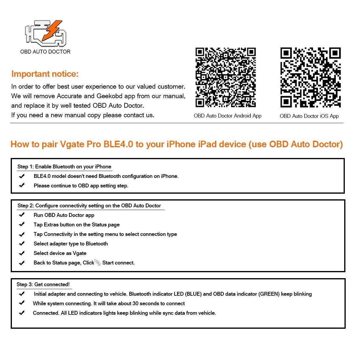 Vgate iCar Pro Bluetooth 4.0 (BLE) Lector de código de avería de ...