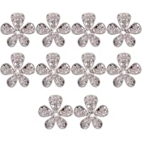 Sungpunet 10pcs Phenovo Flower Rhinestone Buttons DIY Craft Embellishment Silver