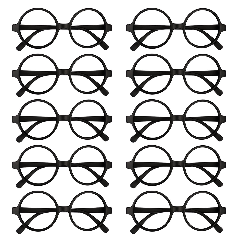 Kicosy 10 Pieces Glasses Frame Black Children Retro Round Glasses Frame Kids Plastic Wizard Glasses Frame No Lenses for Boy or Girls Dress Up and Pretend Play