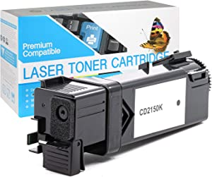 2 Pack of Replacement Black Toners for DELL Color Laser 2150, 2150CN, 2155, 2155CN, 2155CDN and Multifunction 2155CDN / 2155CN