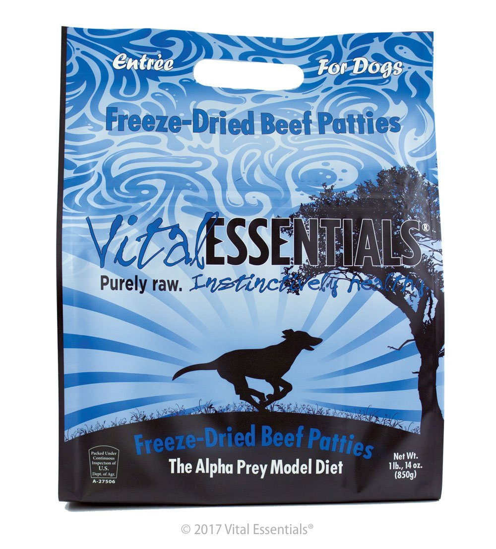 Vital Essentials Freeze-Dried Beef Patties Grain Free Limited Ingredient Dog Entrée, 1 Pound 14 Ounce Bag