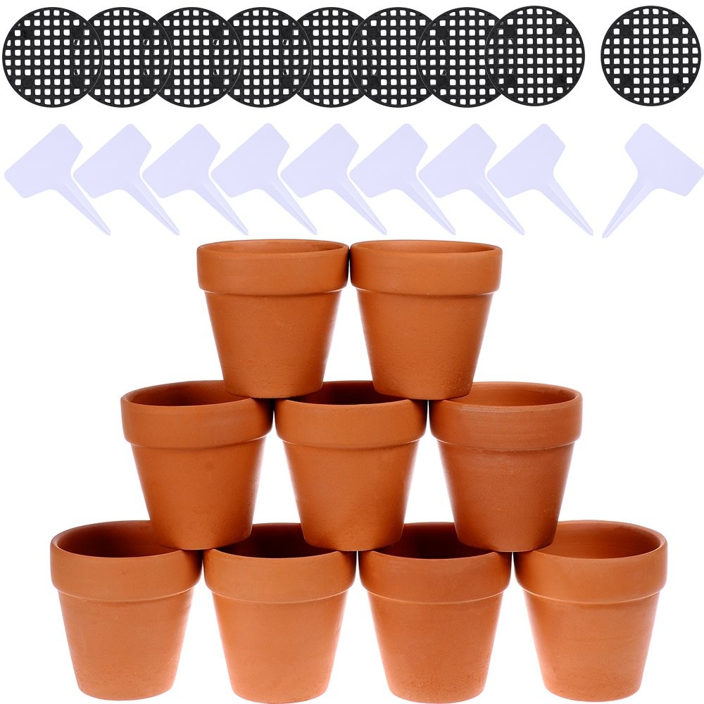 Winlyn 9 Pcs Small Terracotta Pot Clay Pots 3'' Clay Ceramic Pottery Planter Cactus Flower Pots Succulent Pot Drainage Hole  Great For Plants,Crafts,Wedding Favor by Winlyn