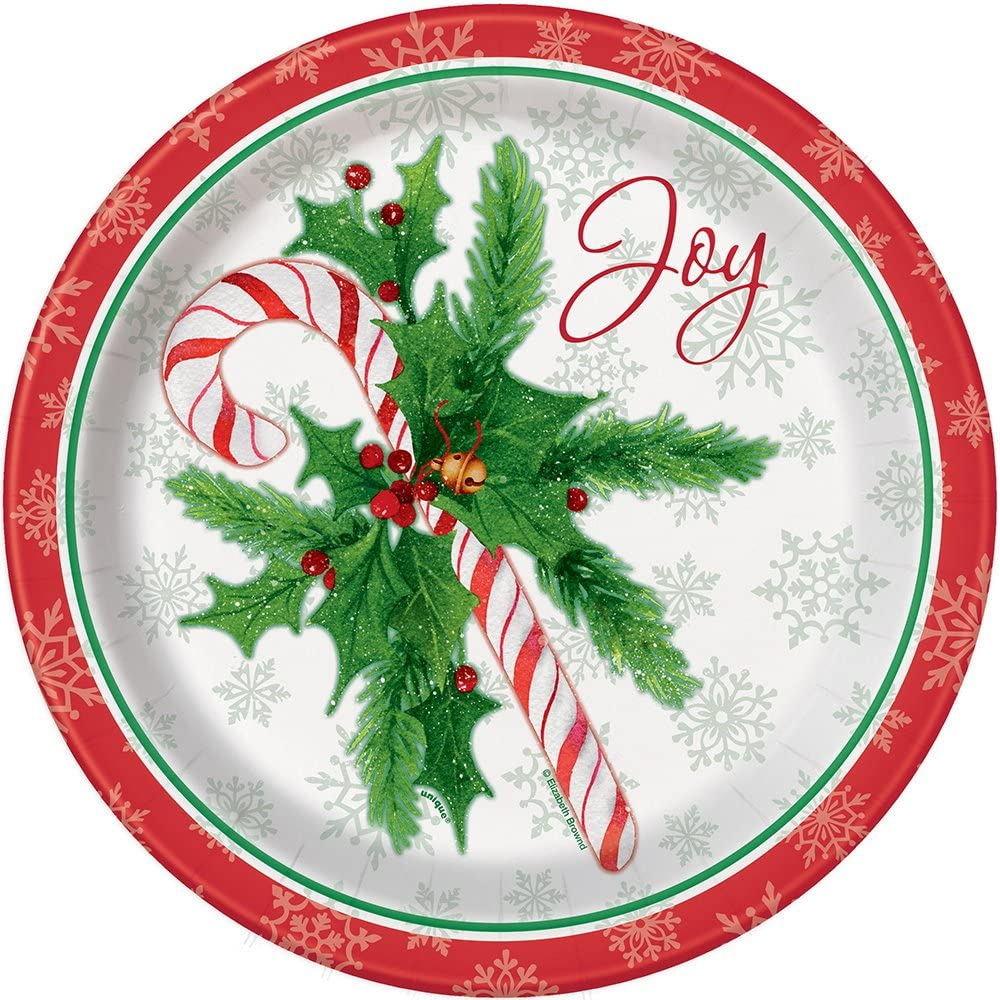 Platos de Papel de Navidad de Bast/ón de Caramelo Unique Party 18 cm - Paquete de 8 49814